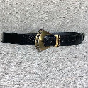 Vintage Black genuine leather belt